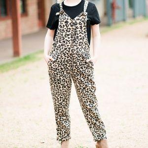 Denim - Animal Print Overalls Cheetah Lulu Style
